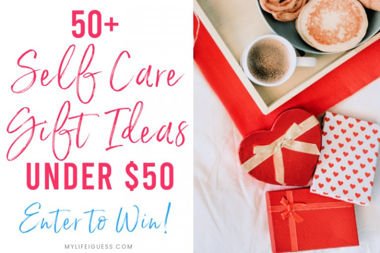 Assorted gift boxes with the text 50 Self Care Gift Ideas for Under $50