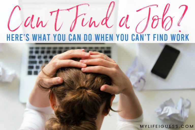 a young woman sitting at a computer frustrated with the text Can't Find a Job? Here's What To Do