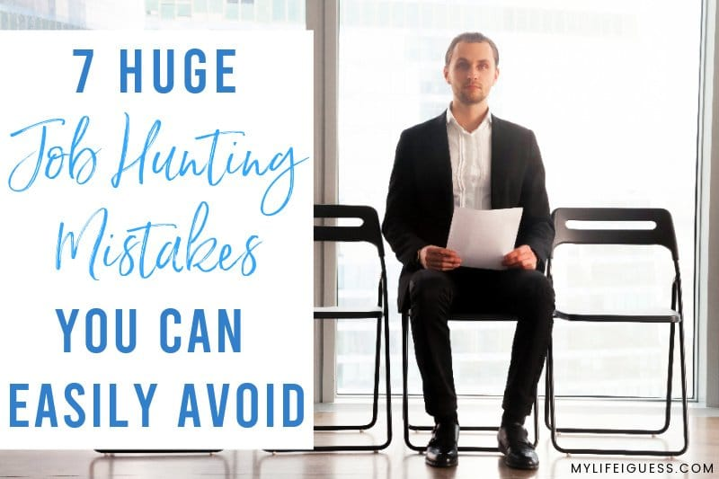 man sitting waiting for a job interview with the text Job Hunting Mistakes You Can Easily Avoid