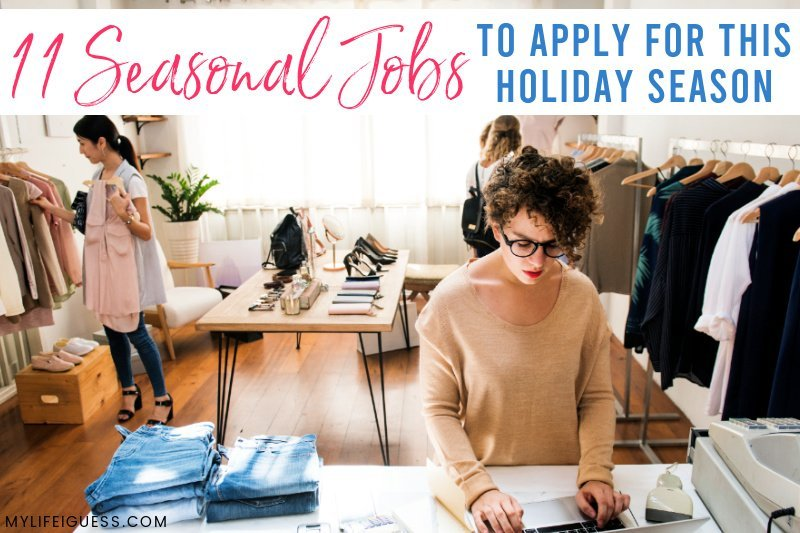female store owner works while customers shop with the text 11 Seasonal Jobs To Apply For This Holiday Season