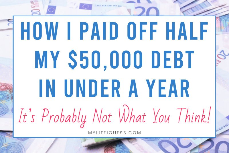 money background with the text How I Paid Off Half of My $50,000 Debt in Under a Year (It's Probably Not What You Think)
