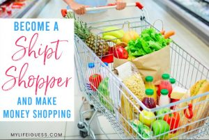 a full grocery cart with the text Become A Shipt Shopper and Make Money Shopping