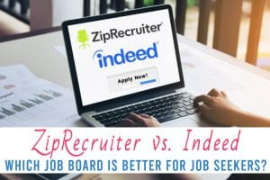 a computer screen with the text ZipRecruiter vs. Indeed: Which Job Board is Better for Job Seekers?