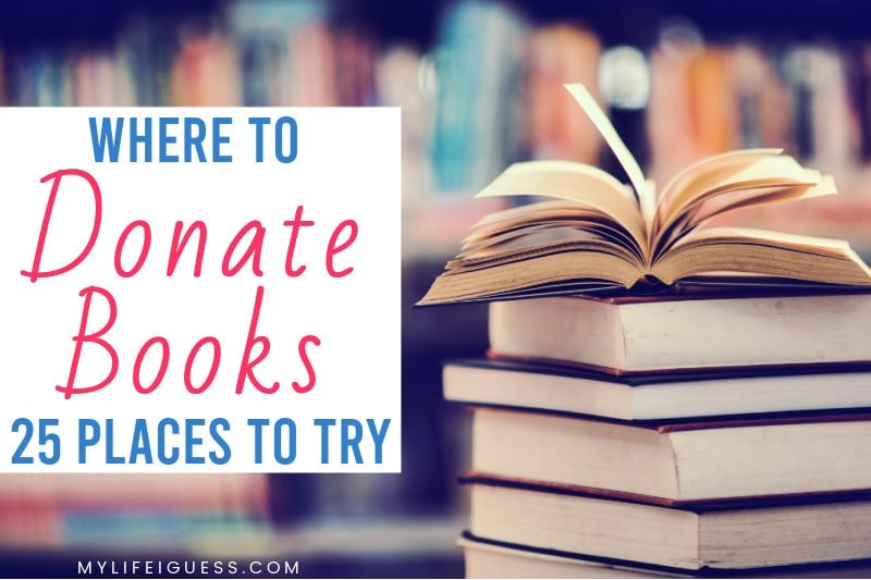 stack of books in a library with the text Where to Donate Books: 25 Places to Try