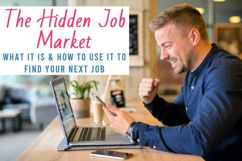 happy man at a computer in a coffee shop with the text The Hidden Job Market: What It Is and How to Use It to Find Your Next Job