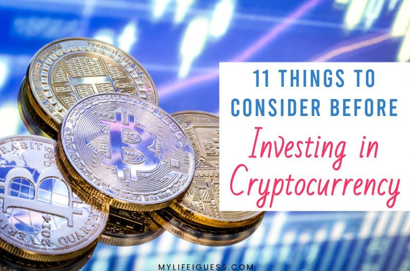 bitcoins in the background with the text 11 Things to Consider Before Investing in Cryptocurrency