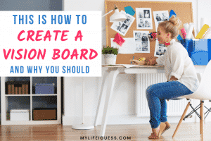 young woman creating at a desk with the text This Is How to Create a Vision Board (And Why You Should)