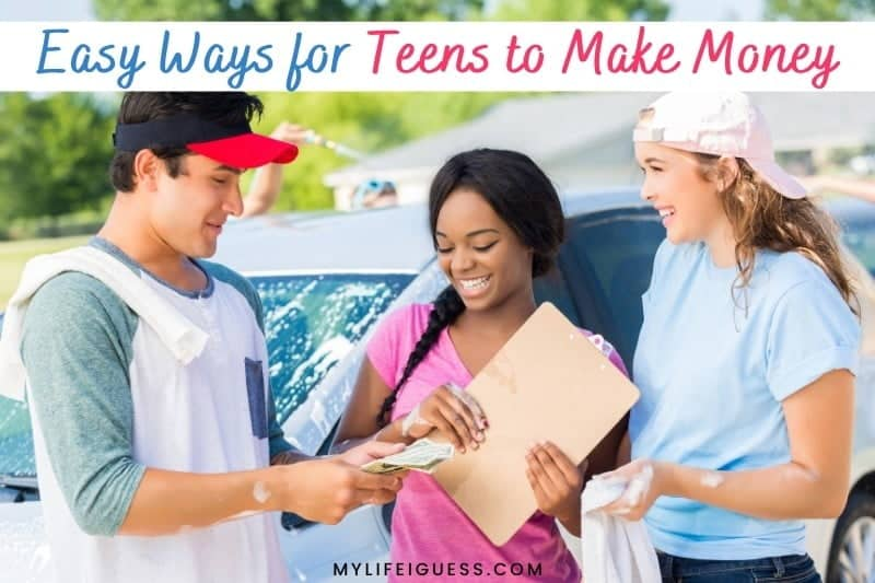 three teenagers hosting a carwash with the text 12 Easy Ways for Teens to Make Money