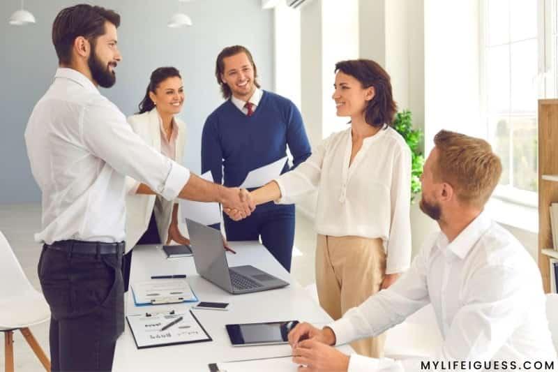 women in an office accepting a new job