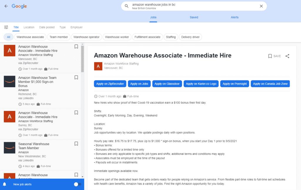 a screenshot of a job posting on Google