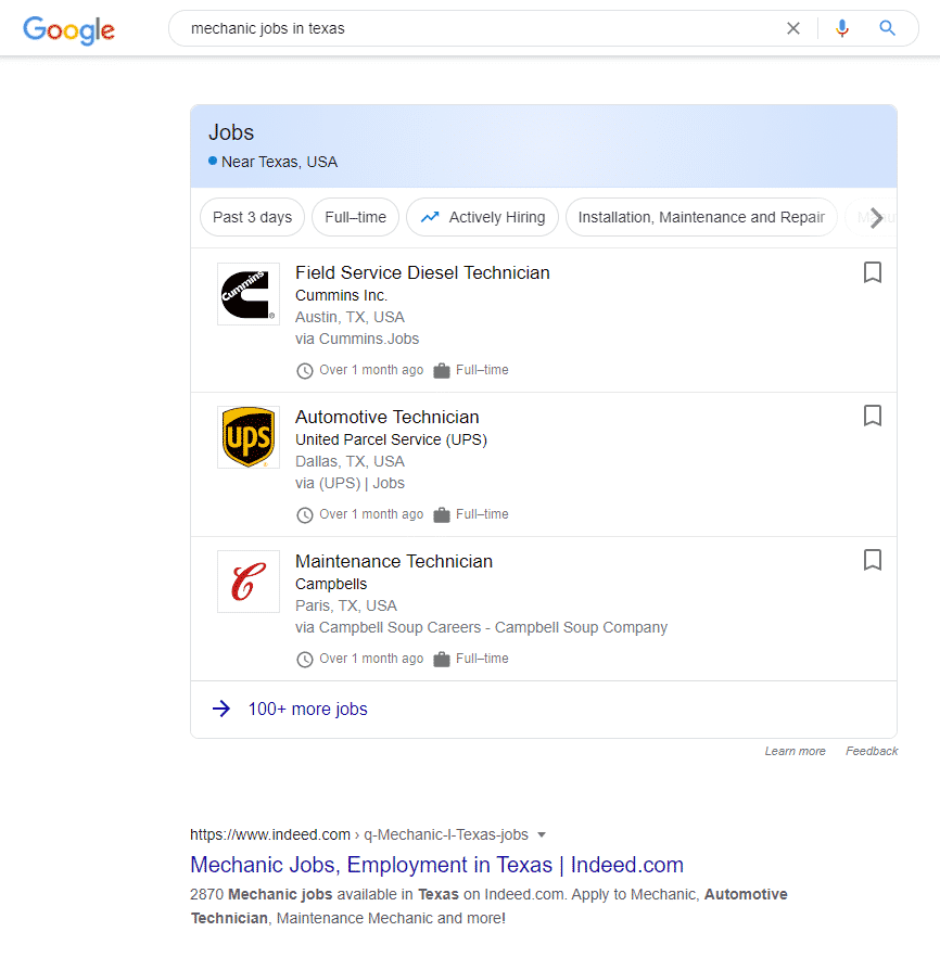 a screenshot of Google for Jobs with a search result for Indeed underneath it