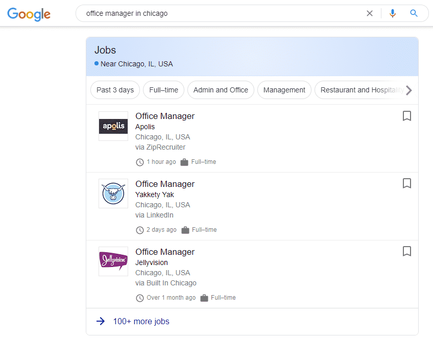 a screenshot of job postings as they appear on Google
