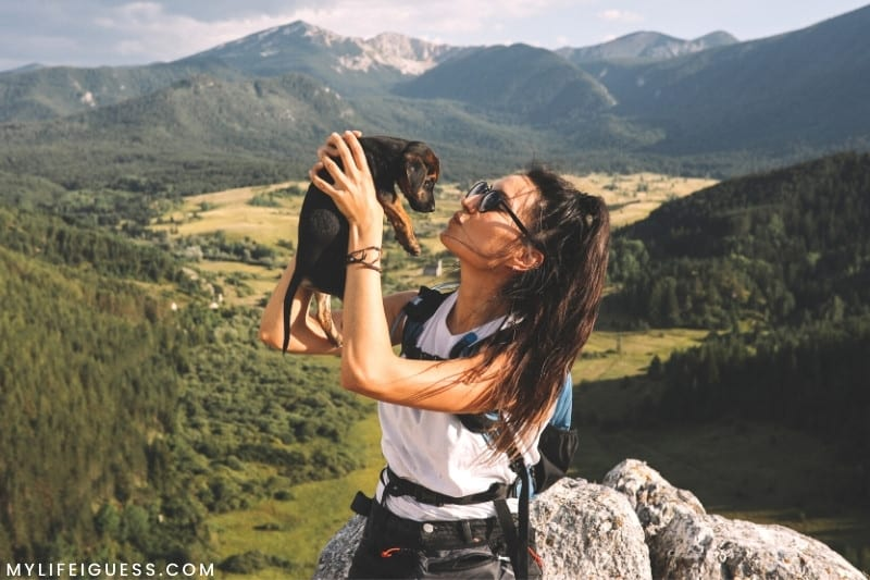 girl with her puppy overlooking a mountain