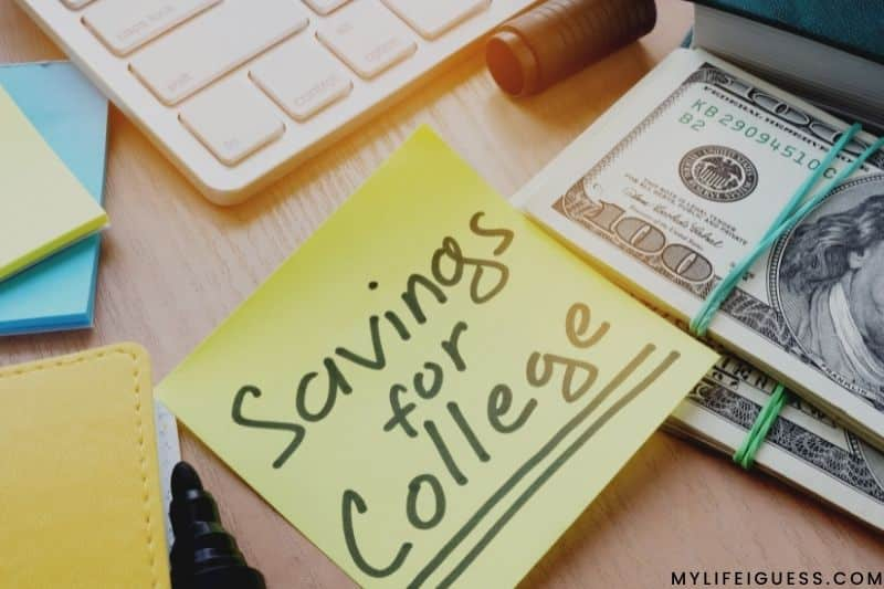 cash next to a post-it note reading savings for college