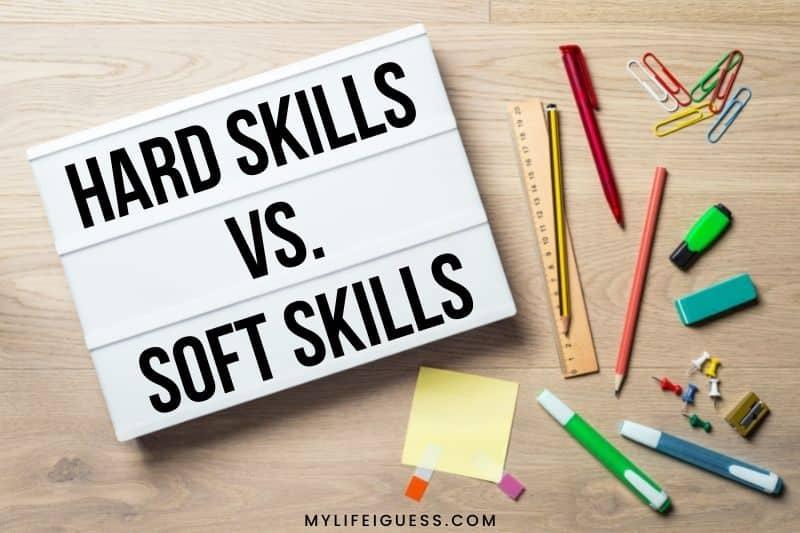 flatlay with the words hard skills vs. soft skills